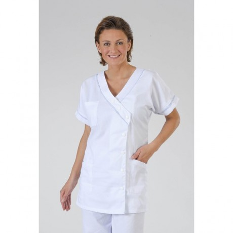 Blouse medicale parme forme mariniere Col V